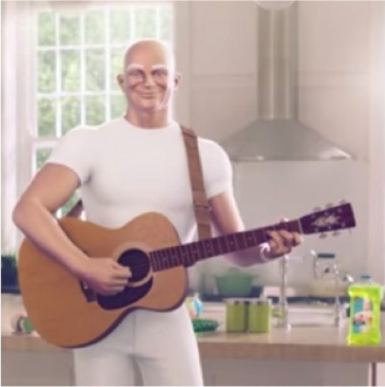 Iconic, buff, and bald character in a white outfit still sells
